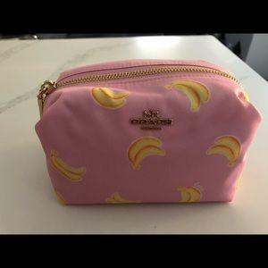 Nwt coach nylon pink bag with printed bananas!